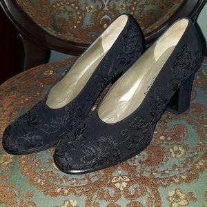 Yves Saint Laurent black embroidered heels